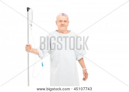 An old man getting i.v. infusion isolated on white background