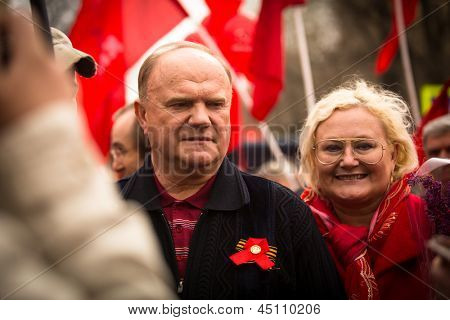 MOSCOW - MAY 1: Gennady Zyuganov (is a Russian politician, First Secretary of the Communist Party of the Russian Federation) during procession of May Day on May 1, 2013 in Moscow, Russia.