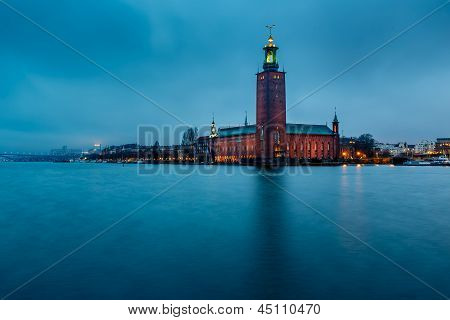 Stockholm Cityhall Located On Kungsholmen Island In The Morning, Sweden