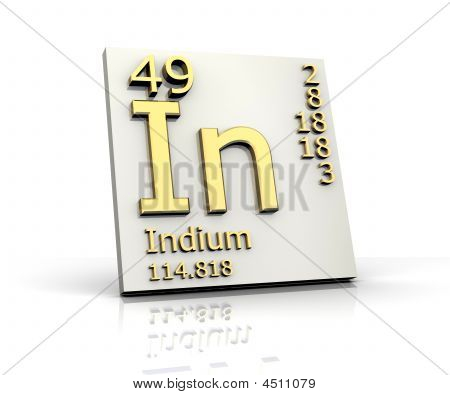 Indium form Periodic Table of Elements - 3d made poster