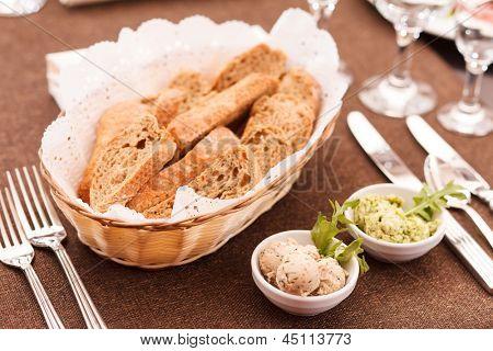 fresh crusty bread in a basket