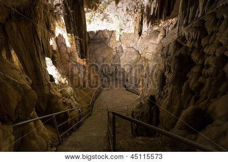 Stairs leading down into the cave
