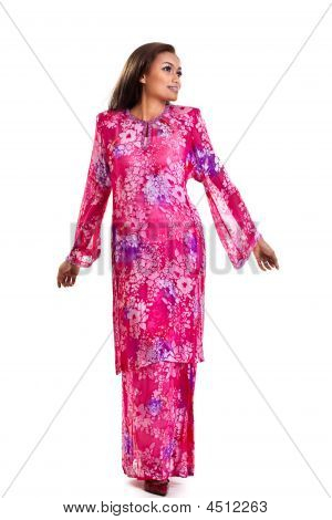 Asian Malay Woman In Traditional Dress