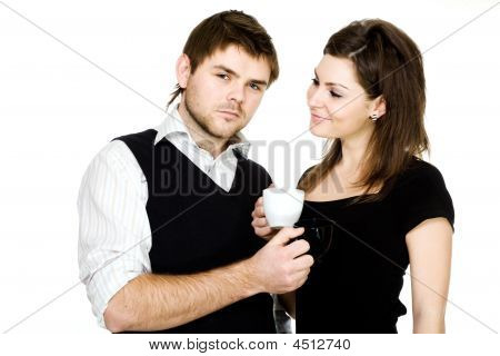 Couple With Cups