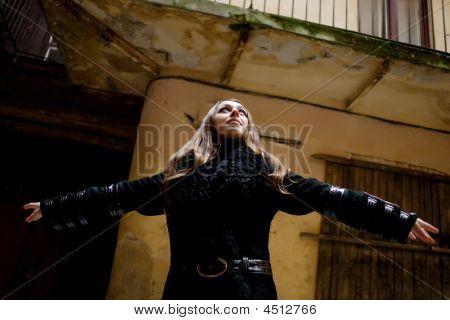 Woman In Yard