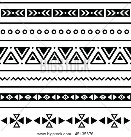 Aztec seamless pattern, tribal black and white background