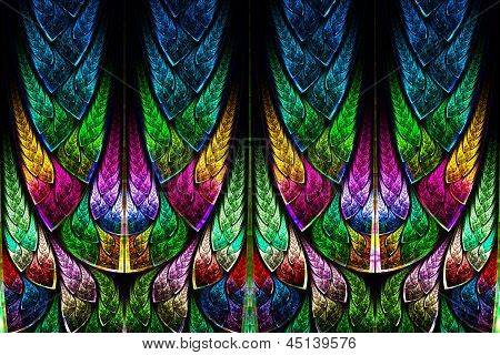 Fractal pattern in stained glass style. Computer generated graphics. poster