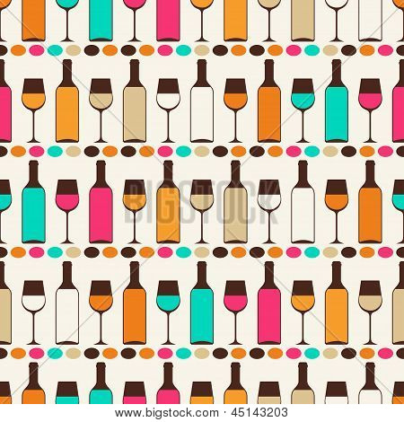 Seamless retro pattern with bottles of wine and glasses.