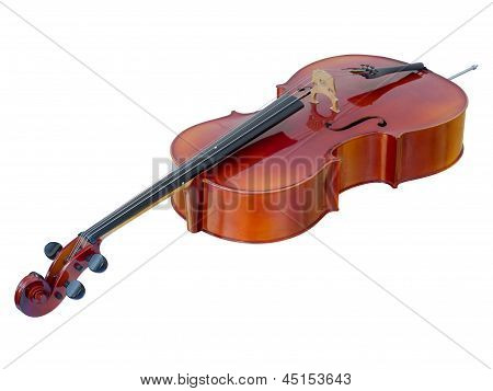 Lying Cello On White Isolated