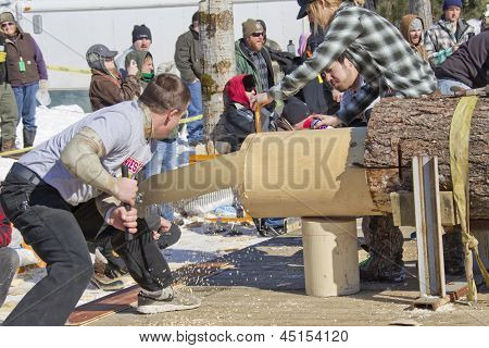 Lumberjack Two Man Bucksaw Competition Halfway Through