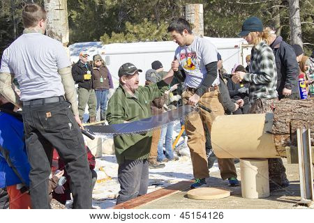 Lumberjack Two Man Bucksaw Competition Finished