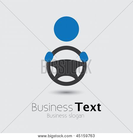 Car vehicle or automobile driver icon or symbol- vector graphic. The illustration shows a cabbie icon with his hand holding the steering wheel and space for business text and business slogan poster