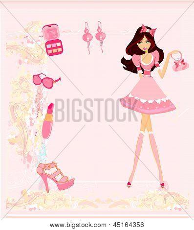 Fashion Girl Shopping Card