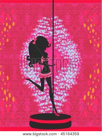 Silhouette einer Pole-Tänzerin