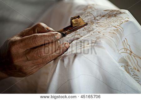 Batik Painting On A White Cloth Process