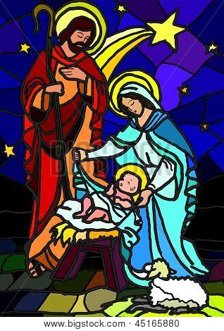 Vector illustration of the holy family of the nativity or birth of Jesus created as stained glass. poster
