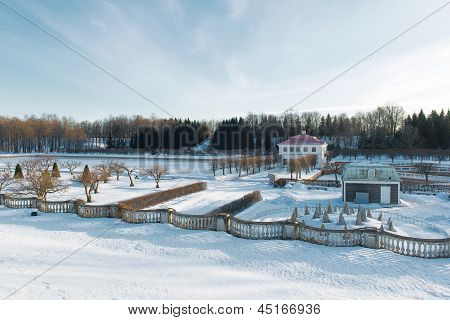 Peterhof Park In Winter Time