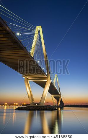 Charleston Sc Arthur Ravenel Jr. Bridge Cooper River Sunset