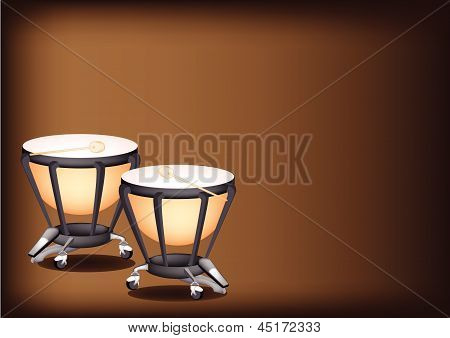 Beautiful Classical Timpanis On Dark Brown Background
