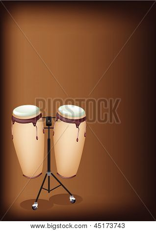 Beautiful Congas With Stand On Dark Brown Background