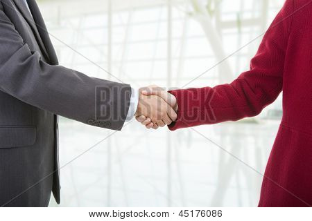 business couple shaking hands at the office