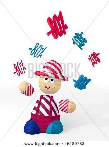 Illustration of a happy discount symbol juggled by a clown