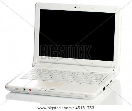 White open laptop with black screen on white background