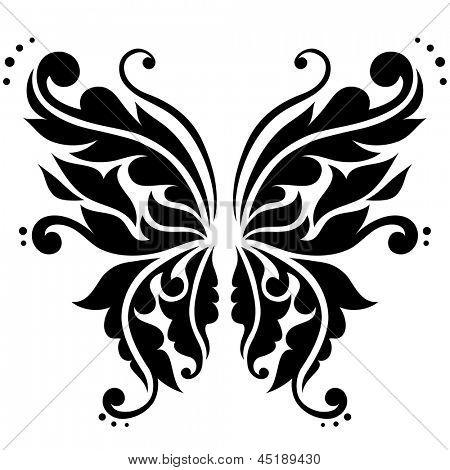 Ornamental butterfly. Vector illustration.