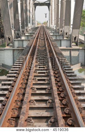 Railway On Steel Bridge.