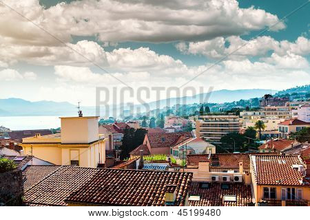 Cannes City Landscape With Typical Residential Houses And Mediterranean Sea. France