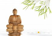 Zen abstract of a buddha in prayer in a garden with bamboo leaf grass and lotus lily flower with reflection over rippled gray water over white background. poster