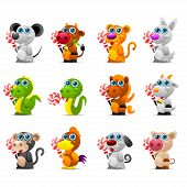 Illustration chinese horoscope animal toys with sugar candy, format EPS 10 poster
