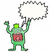crazy shrieking monster cartoon poster