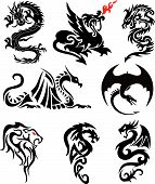 Asian Dragons Silhouette Collection - Tattoo Vector poster