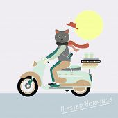 Fashionable Hipster cat on a vintage scooter - illustration poster