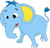 A Happy Cute Blue Cartoon Baby Elephant poster