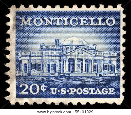 USA - CIRCA 1956: A Stamp printed in USA shows Monticello, the estate of Thomas Jefferson, 200th Anniversary, circa 1956
