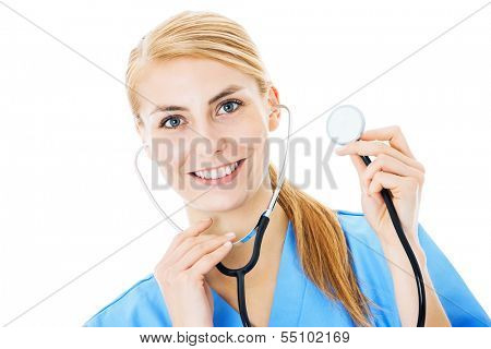Portrait of beautiful nurse holding stethoscope isolated over white background