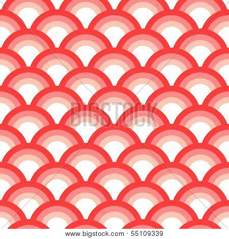 Delicate asian scallop seamless pattern pink and white, vector