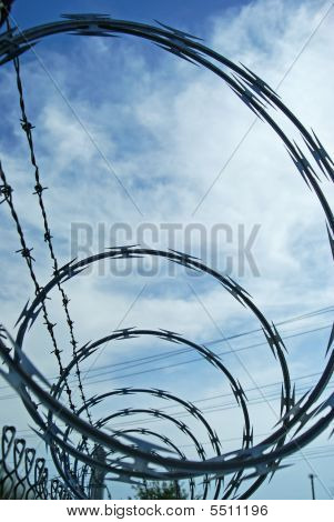 Loops of razor wire and barbed wire protective security fencing on top of a chainlink fence poster