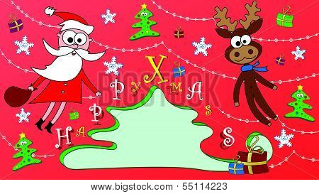 Happy Christmas Postcard With Santa And Rudolph