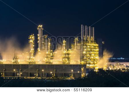 Night Scene Of Vapour Stream In Industrial Plant