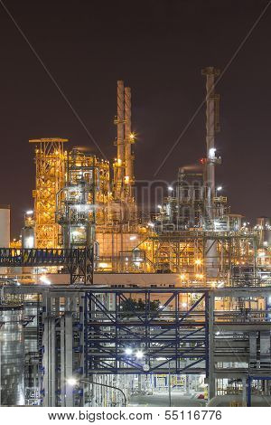Industrial Plant In Night Time