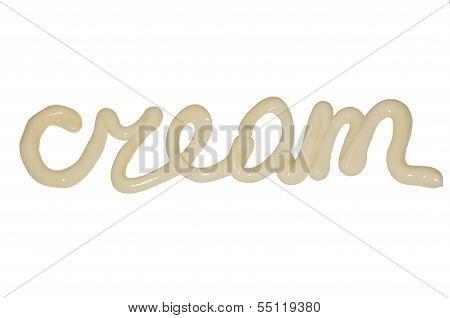 Letters of cream.