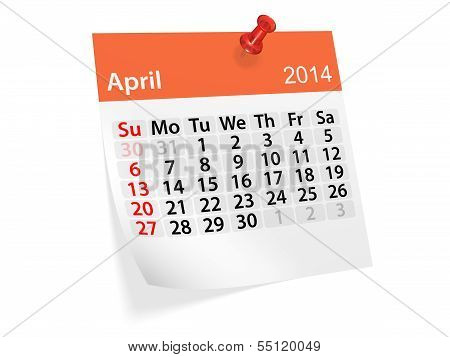Monthly Calendar For New Year 2014. April
