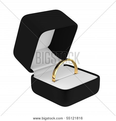 Gold Ring with Black Box