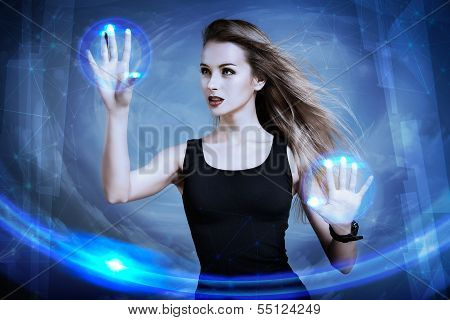 Woman Using Virtual Screen