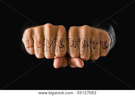 Love And Hate Tattooes, Hands Clenched In Fist