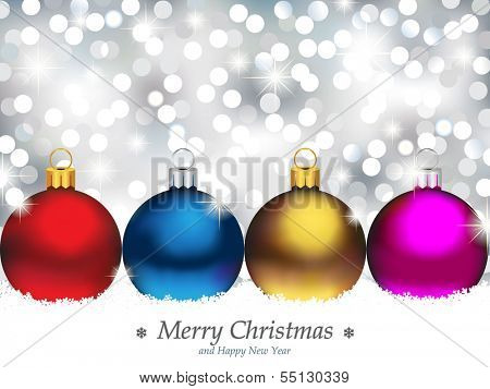 Christmas Ornaments in front of Defocused Lights - EPS 10