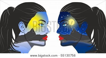 Day And Night Concept In The Women Face